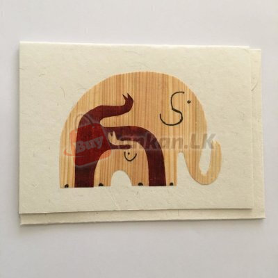 Eco friendly elephant family greeting card