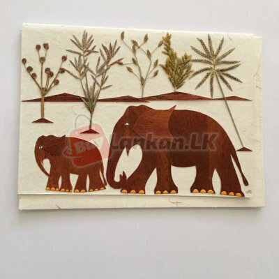 Eco friendly elephant mother and child greeting card