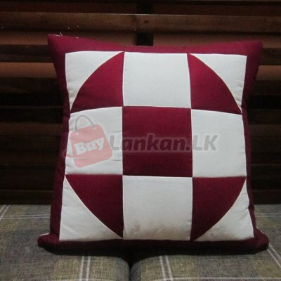 Patchwork Cushion Cover Maroon 16x16