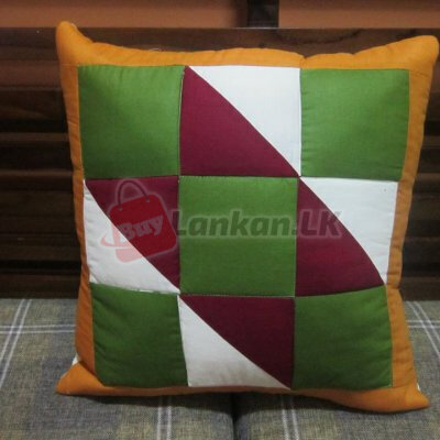 Patchwork Cushion Covers Green & Maroon (16x16)